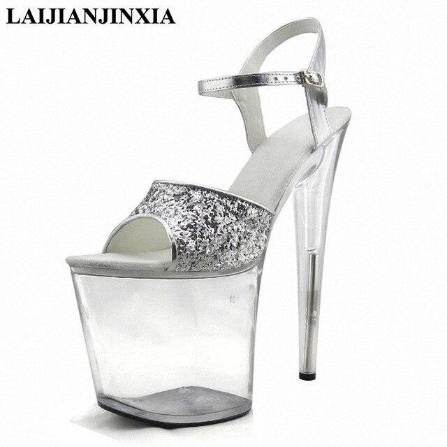 materiales superiores selección especial de precio de descuento LAIJIANJINXIA nuevo 20 cm tacones altos Ultra finos sandalias de plataforma  transparentes Sexy para mujer vestido noche baile zapatos