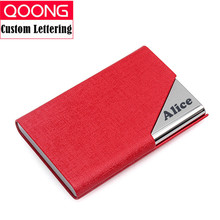 QOONG Custom Lettering Business ID Credit Card Holder For Women Men Fashion Brand Metal Aluminum Case Leather Porte Carte