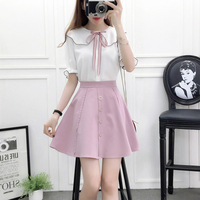 2018 summer Korean fashion girl white top blouse & single breasted skirt women cute outfit vestidos 2 pcs clothing set S M L