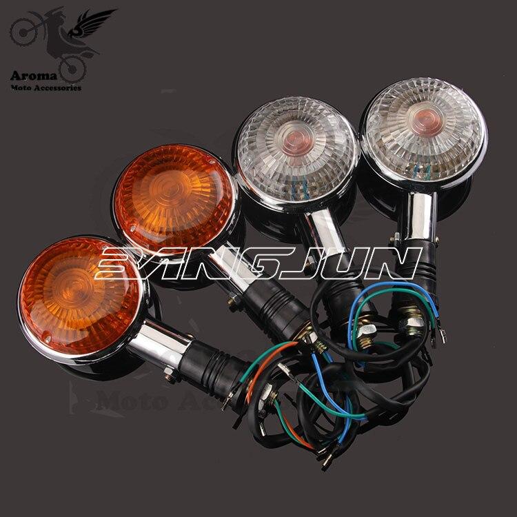 round chrome motorbike blinker lamp amber for yamaha XV250 400 650 indicator parts moto flashing motorcycle turn signal light