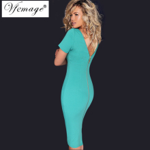 Vfemage Women Elegant Ruched Sexy V Back Zipper Vintage Casual Wear to Work Office Business Party Club Bodycon Pencil Dress 6268