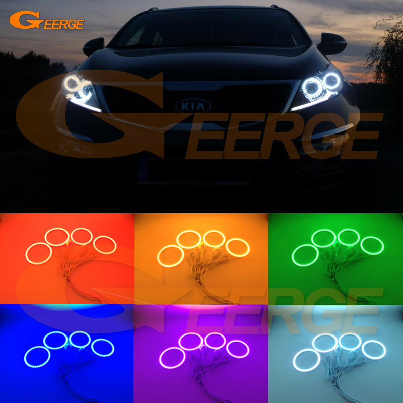 For Kia Sportage 2011 2012 2013 2014 2015 Excellent Angel Eyes Multi-Color Ultra bright RGB LED Angel Eyes kit Halo Rings for mercedes benz b class w245 b160 b180 b170 b200 2006 2011 excellent multi color ultra bright rgb led angel eyes kit