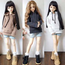 Single Sale Fashion Clothes For Dolls Black White Gray Solid Color Hooded Sweater BJD Doll Clothes Accessories Toy For Children(China)