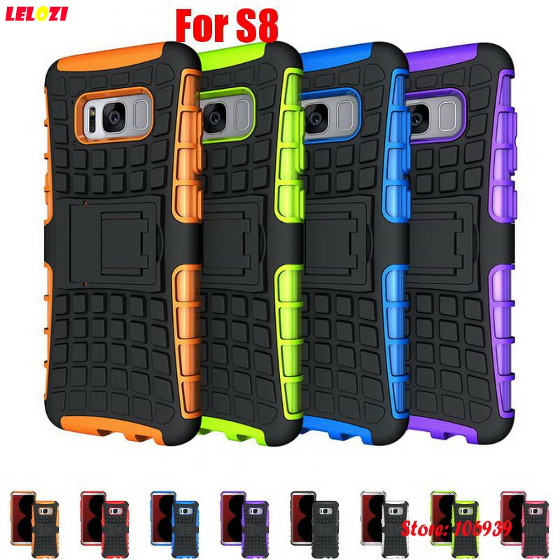 LELOZI Cool Hard Armor Rugged PC Hybrid TPU ShockProof Phone Mobile Phon Carcasa Etui Case For Samsung Galaxy S8 S 8 Black Rose