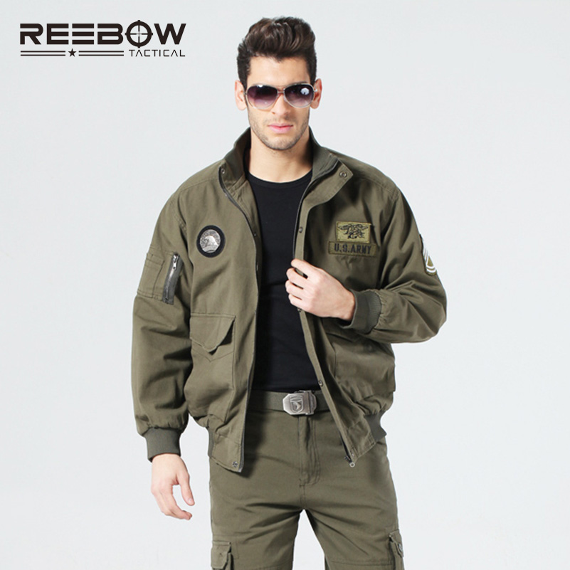 все цены на REEBOW TACTICAL Men Outdoor Air Force US Army Military Bomber Jacket Autumn Winter Cotton Coats Hunting Shooting SWAT Jacket онлайн