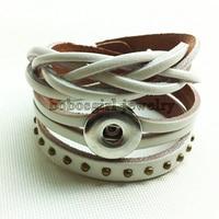 100% топ натуральная кожа кнопки ювелирный браслет регулируемый OEM и ODM t881