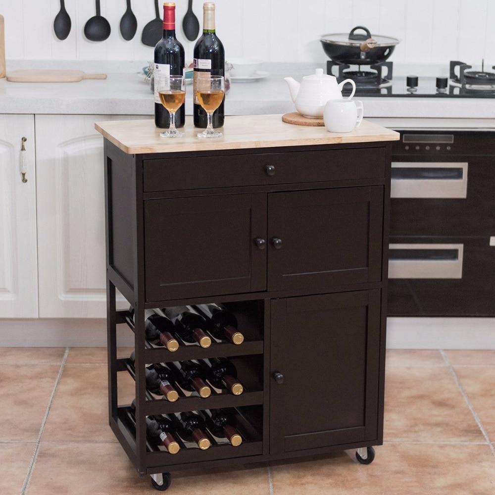Giantex Modern Rolling Kitchen Cart Trolley Island Storage Cabinet w/Drawer&Wine Rack Dining Room Furniture HW56608BN 3