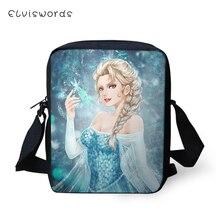 ELVISWORDS Fashion Women Messenger Bags Snow Queen Prints Pattern Shoulder Kawaii Design Flaps Handbags Kids Mini Mochila