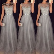 Genuo Summer Long Maxi Formal Lace Party Dress Women Elegant Plus Size O-neck Sequined Bridesmaid Prom Long Dresses 2018 все цены