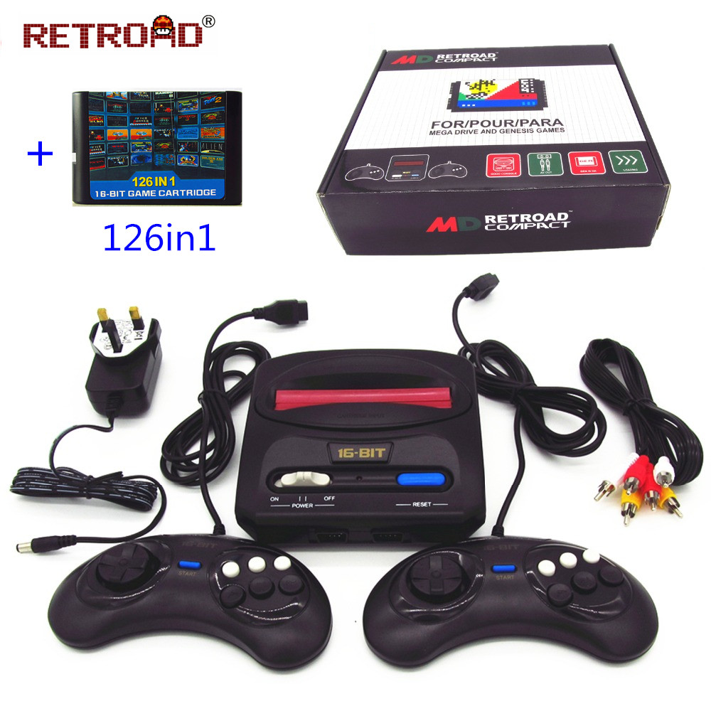 16BIT MD Compact SEGA Genesis TV video game console with 126in1 games good quality version
