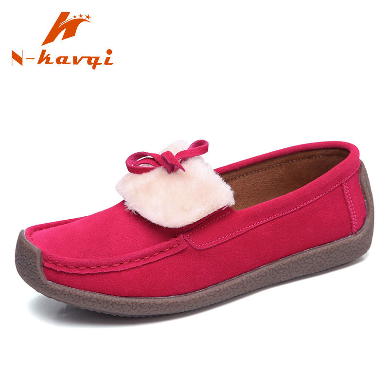 NKAVQI Women Flats Shoe Genuine   Leather     Suede   Casual shoes Fashion Casual Slip On Soft Loafers Spring Female Driving Shoes