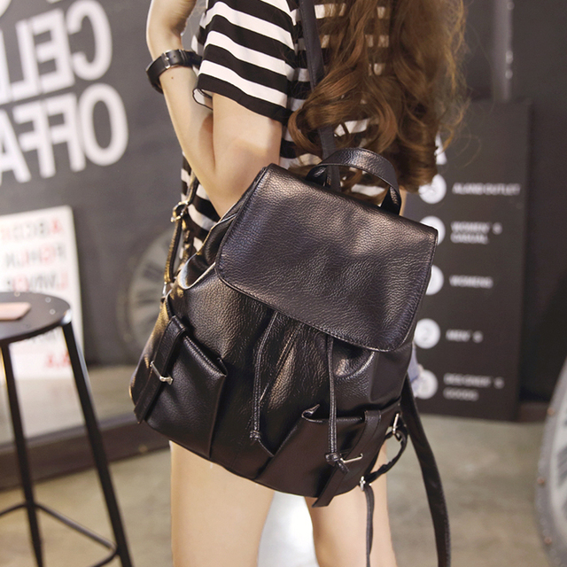 The new 2016 ms han edition fashion leisure backpack female bag contracted  wet pu leather backpack 8ddc2d6c3da14