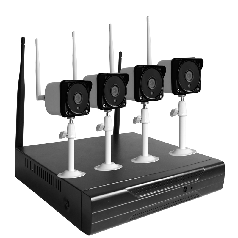 2.4Ghz Wireless 1080P Network Video Recorder NVR DIY Kit with 4pcs of 720P HD Wifi Bullet Camera for Home Surveillance Systems2.4Ghz Wireless 1080P Network Video Recorder NVR DIY Kit with 4pcs of 720P HD Wifi Bullet Camera for Home Surveillance Systems