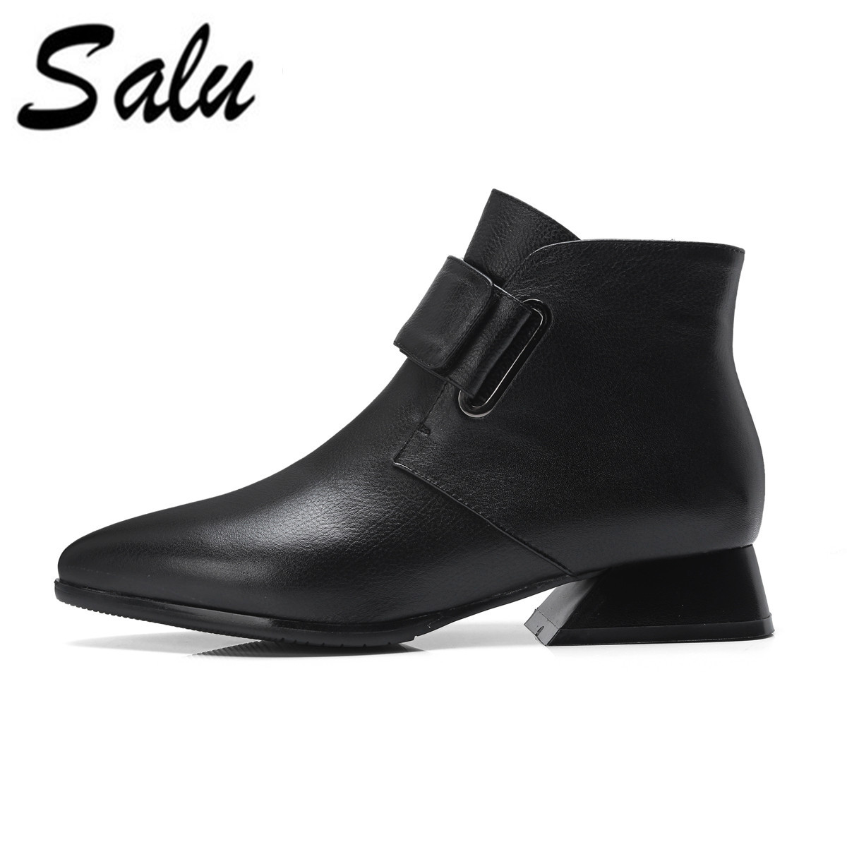 Salu 2018 new top quality Genuine leather ankle boots for women pointed toe autumn winter boots solid colors high heels boots цены