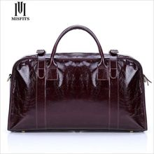 MISFITS Genuine Leather Mens leather Duffle bag Top Layer Cow Leather Man Travel Bag Red Leather Mens Suit Bag WHB168