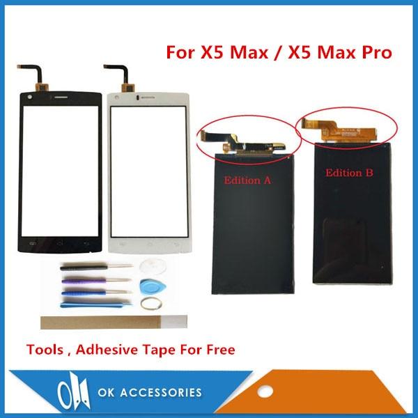 """5.0 """"pour Doogee X5 Max/X5 Max Pro écran LCD affichage avec écran tactile pièce de rechange couleur noire avec outils ruban adhésif"""