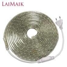 Laimaik fita led rgb à prova d água, 5050 leds fita led 220 flexível 220v 60leds/m iluminação com tomada da ue