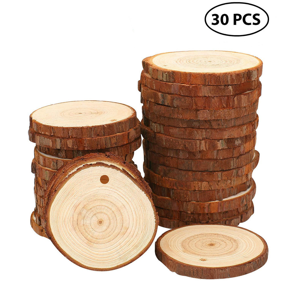 40Pcs Unfinished Wood Round Heart Shape Slices Multi Holes Small Circle Blanks Pendant Wooden Tags in Bulk for DIY Craft Counted Cross Stitch Kit