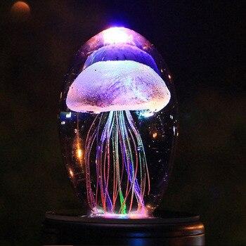 Lámpara de medusas 3D, luz de medusas de noche, lámpara LED Multicolor...