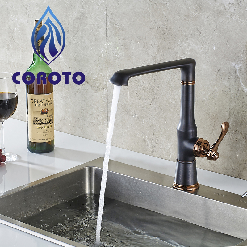 COROTO Black Kitchen Faucets Mixer Cold And Hot Kitchen Tap Single Hole Water Tap High Quality Wholesale And Retail Water Faucet black chrome kitchen faucet pull out sink faucets mixer cold and hot kitchen tap single hole water tap torneira