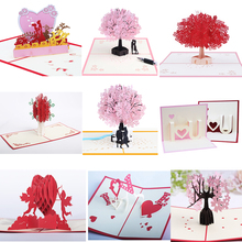 5pcs/lot Pink romantic valentines day 3D stereo greeting card blessing Love wedding gift cherry tree paper handmade