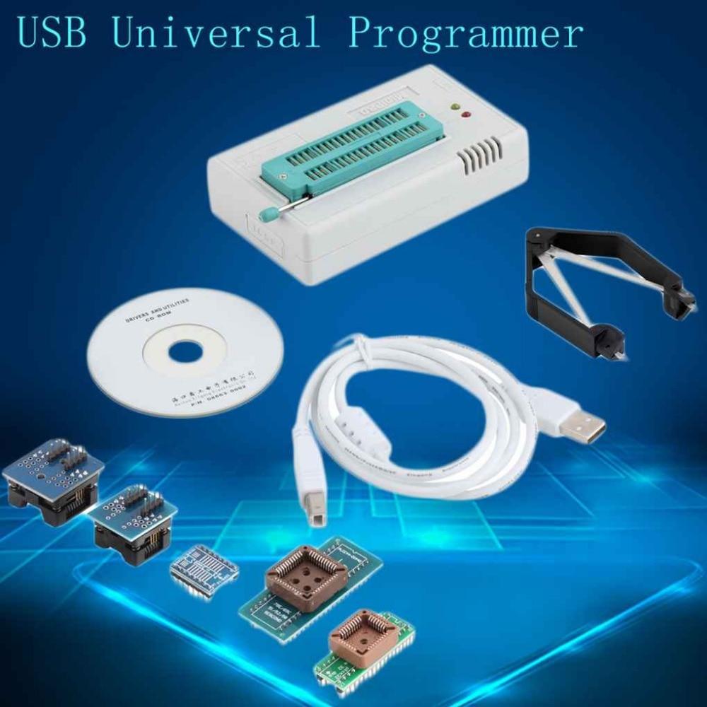 TL866CS Programmer USB Universal Programmer FLASH 8051 AVR MCU GAL PIC SPI 5 Adapters 5 pcs pic12f629 i p pic12f629 dip 8 mcu cmos 8bit 1k flash new
