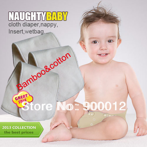 Free Shipping NaughtyBaby Bamboo cotton 100pcs 4 Layers All Bamboo Organic Cotton Baby Pads High Quality