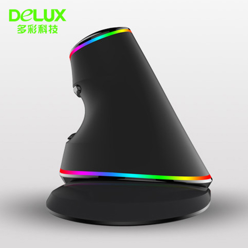BLUEXIN Delux M618 Plus Wired Vertical RGB Luminous Mouse Ergonomic Gaming USB 4000 DPI Optical Healthy Mice for PC Desktop Laptop