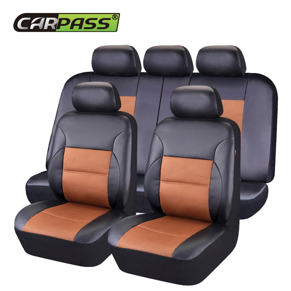 Car pass New PU Leather Car Seat Covers Universal Seat Cover font b Interior b font