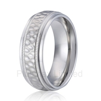 Anel De Casamento Handmade Titanium Jewelry Unique Design Super Cool 8mm Men Wedding Band Finger Ring