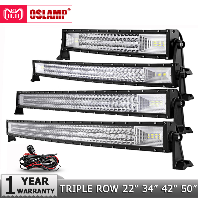 Oslamp 3-Row 12 20 22 23 34 42 50 Straight/Curved LED Light Bar 4x4 Offroad Led Bar Combo Beam Led Work Light Bar 12v 24v очки солнцезащитные fabretti fabretti fa003dmtba79