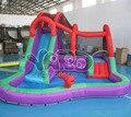Patio trasero inflable parque acuático, juego tobogán inflable, tobogán de agua con piscina