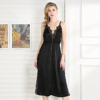 Women Summer Midi Black Lace Dress Sexy Deep V Neck Split Backless Satin Elegant Beach Evening