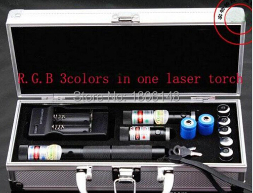 High Powered Burning 300000m Blue Laser 450nm 6000mw Red Laser 532nm 6000mw Green 3 in 1 Focusable Laser Pointer burn Cigarette in Lasers from Sports Entertainment