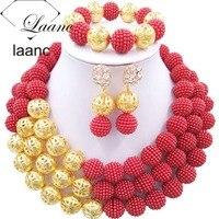 مستوحاة المجوهرات مجموعات النيجيري الزفاف الخرز الأفريقي الأحمر laanc al057