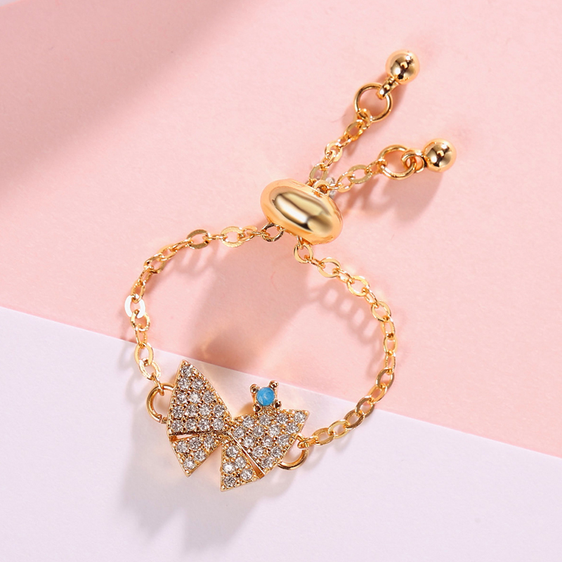 Wholesale Price Pink Clear CZ Love Heart Bowknot Chain Link Rings for Women Wedding Engagement Forever Jewelry Anel Aillos Mujer in Engagement Rings from Jewelry Accessories