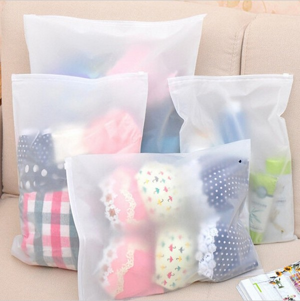 4Pcs 4 Sizes Waterproof Travel Storage Bags Cosmetic Shoes Clothes Bra Underwear Makeup Clear Seal Ziplock Organizer Bags