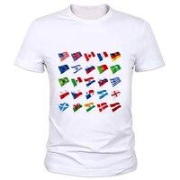 2016新しいファッションメンズoネック白国旗プリントtシャツ夏の男の子tシャツ工場直接販売カスタマイズすることができる47Z-19 #