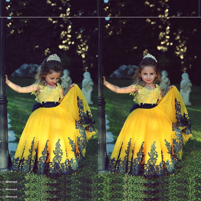 Flower Girl Dress 2016 Bal Gown Appliques Yellow Sashes Kid