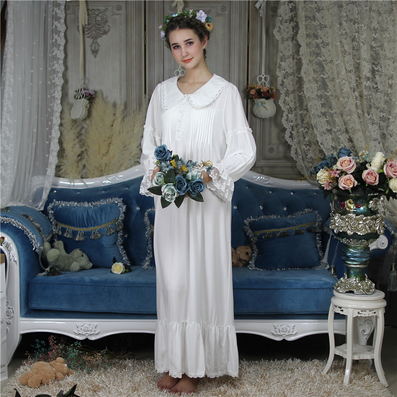 Princess Cotton Sleep Lounge Vintage Night Dress Autumn Arab Women Long   Nightgown     Sleepshirt   Sleepwear Dress Nightdress Homewear