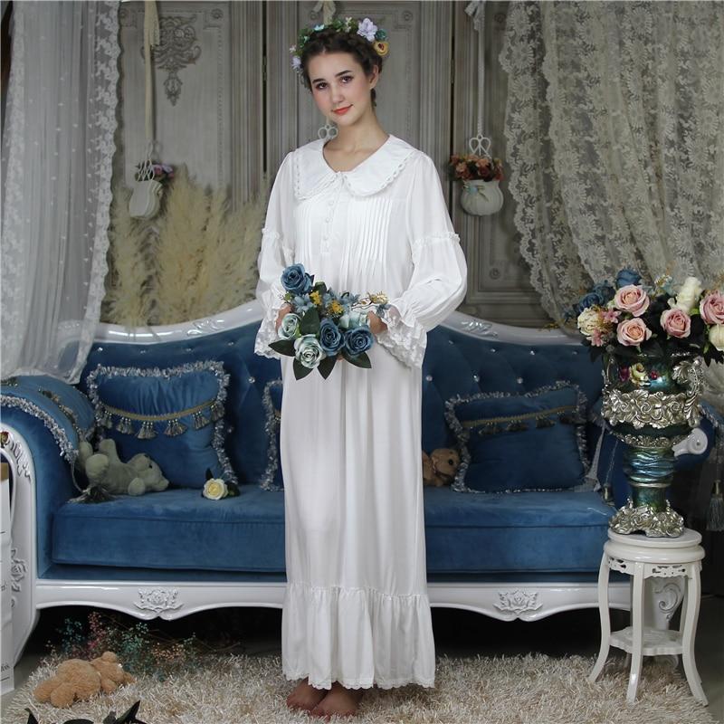 Princess Cotton Sleep Lounge Vintage Night Dress Autumn Arab Women Long   Nightgown     Sleepshirt   Sleepwear Dress Nightdress Homewear