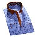 2017 Новый Дизайн Печатных Полосатый С Длинным Рукавом Повседневные Мужские Рубашки Высокого Качества 100% Хлопок Бренд Стиль Бизнес Мужчины Платье Рубашки