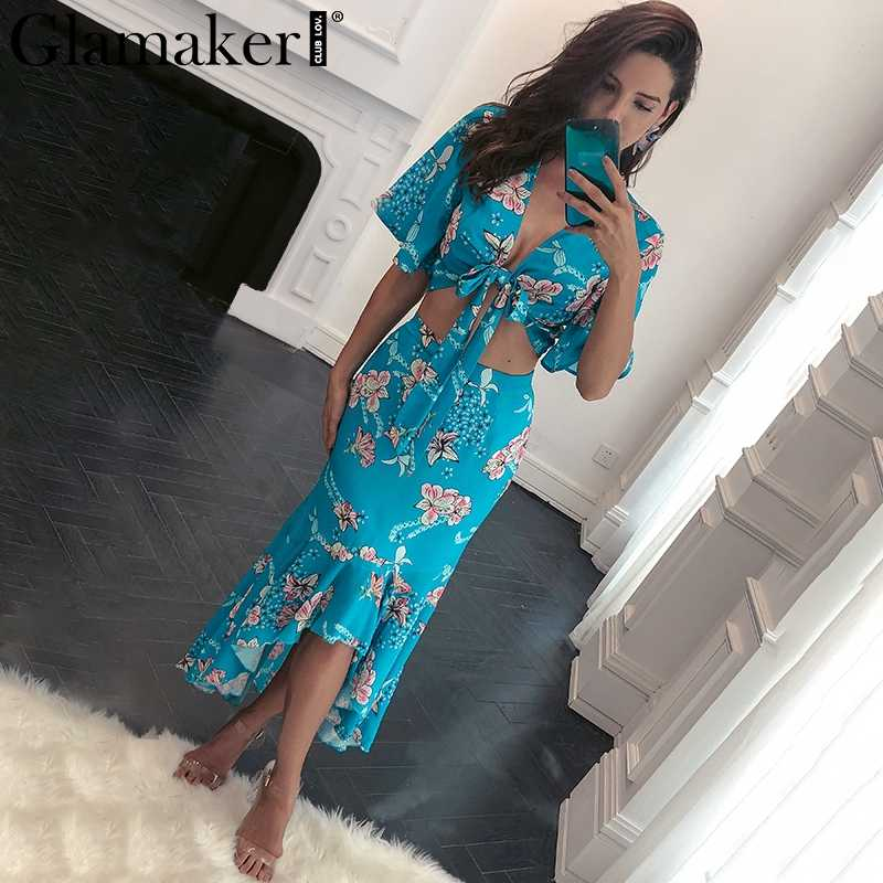 ... Glamaker Flower print boho summer dress Women two piece ruffle maxi  dress beach vestidos Irregular sexy ...