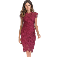 Vintage Burgundy Summer Lace Dress Sheath Bodycon Party Dress Midi Length Slim Black Vestido 2018 Elegant Hollow out White Robe