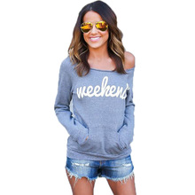 Woman Slash Neck Pullovers Casual Solid Long Sleeve  Pocket Sweatshirt Print Letter Female Top Pullover