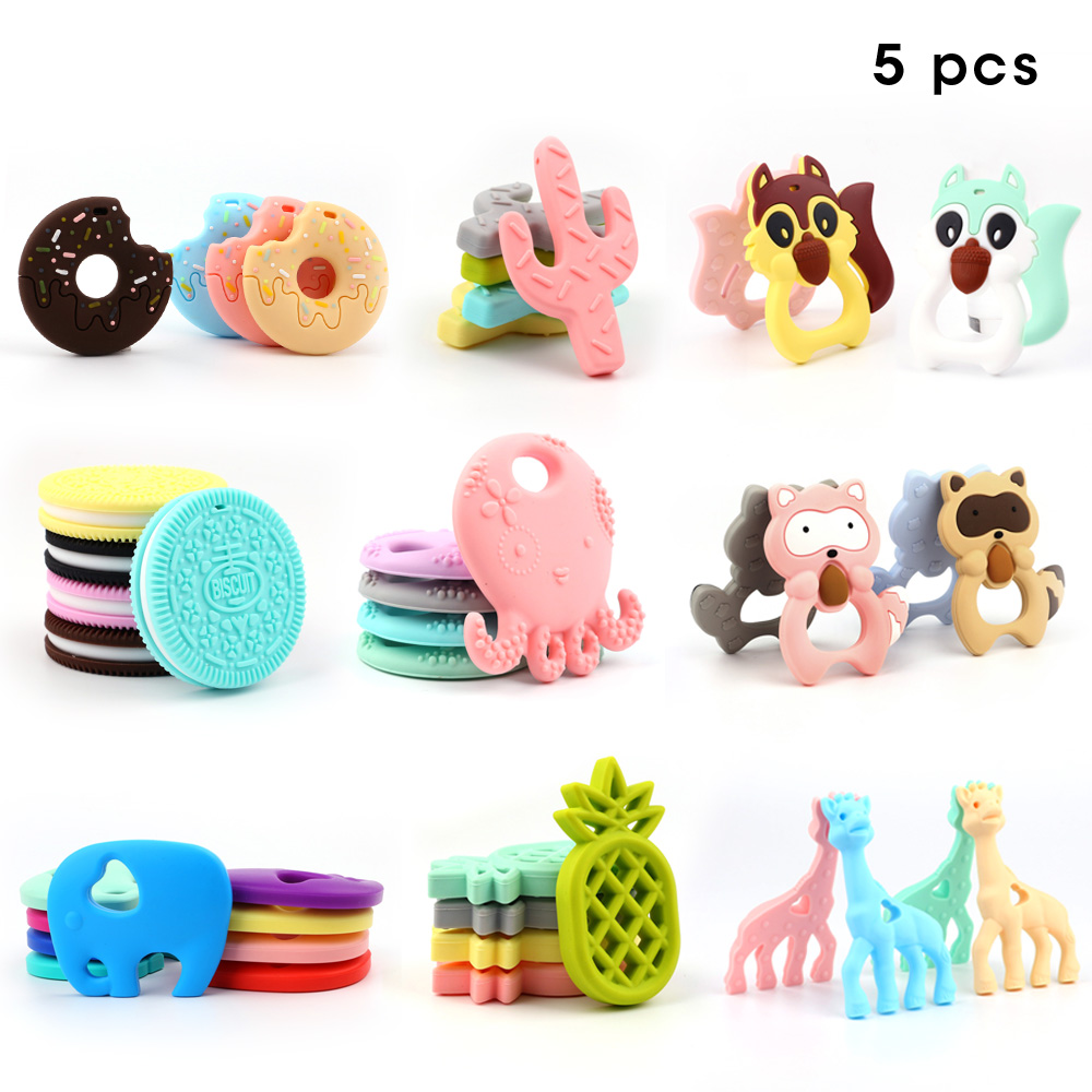 TYRY.HU Silicone Teethers 5pcs Baby Soothing Ring Teether BPA Free Silicone Chew Charms Baby Teething Toys Food Grade Silicone