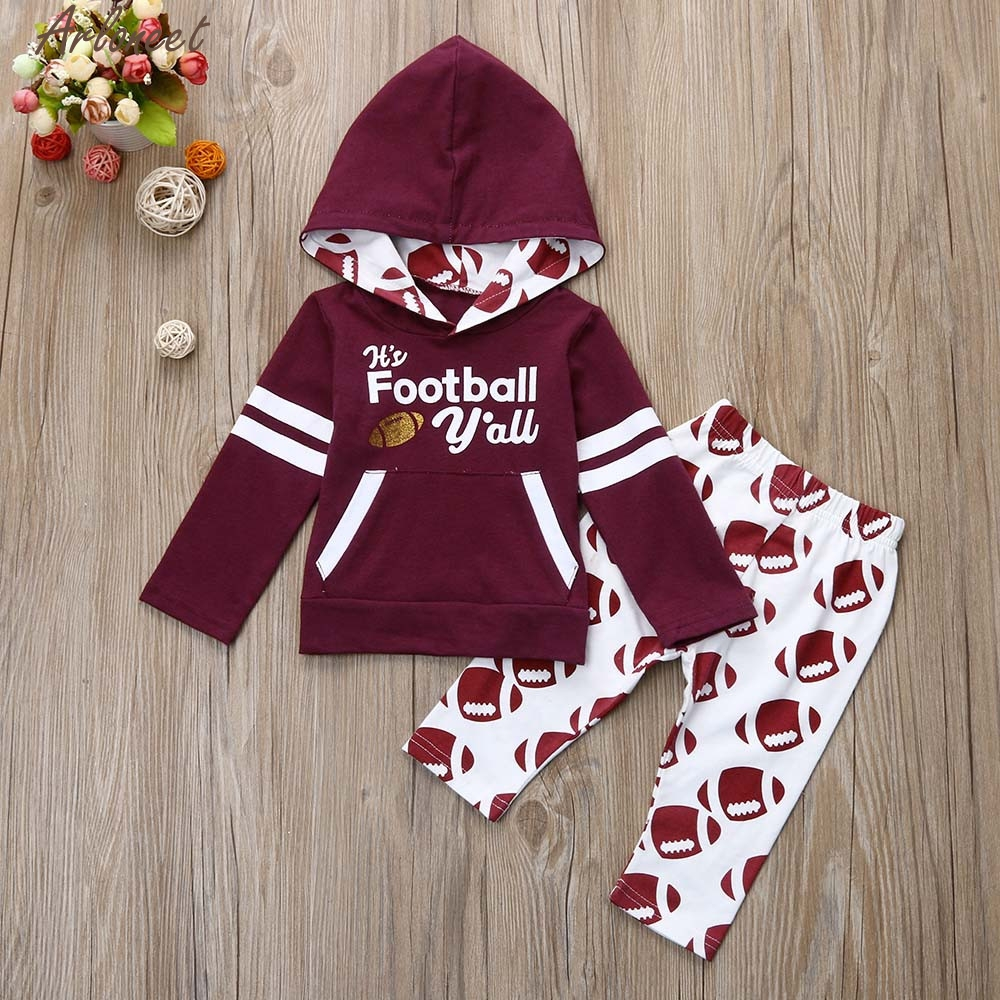 ARLONEET Toddle Infant Baby Boy Girl Letter Hoodie Tops+Pants Football Outfit Clothes Set Kid Tracksuit For Girls Jan9 letter print raglan hoodie