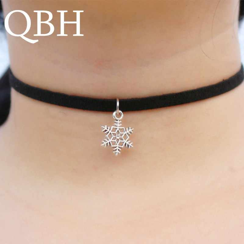 f7571bc0106 NK889 Pendant Chokers Necklaces For Women Black Velvet Suede Gothic Punk  Collares Fashion Jewelry Snowflake Bijoux