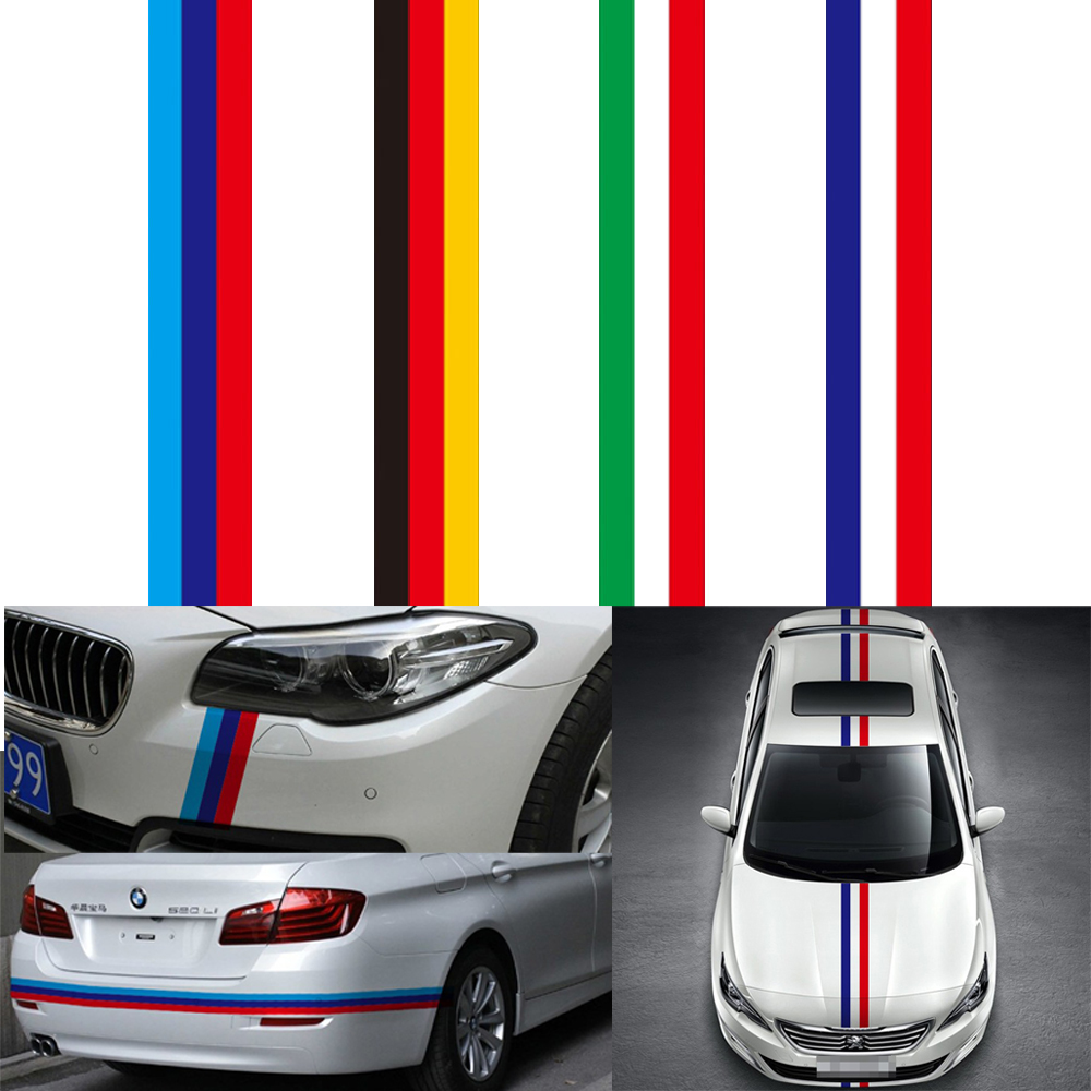 15CM*100CM Car Sticker Car-styling For Engine Cover National Flag PVC Film Car Body Hood Decal for BMW VW 3 Colors 3d car hood engine cover sticker waterproof sunscreen protective change color film auto decals car styling for audi a4 b6 a3 a6
