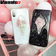 Vanniso Lovely ice cream case for iphone 7 8 6 6s XR XS Summer Flowing Rainbow phone case for iphone XS MAX 6S 7 8 Plus Shining стоимость